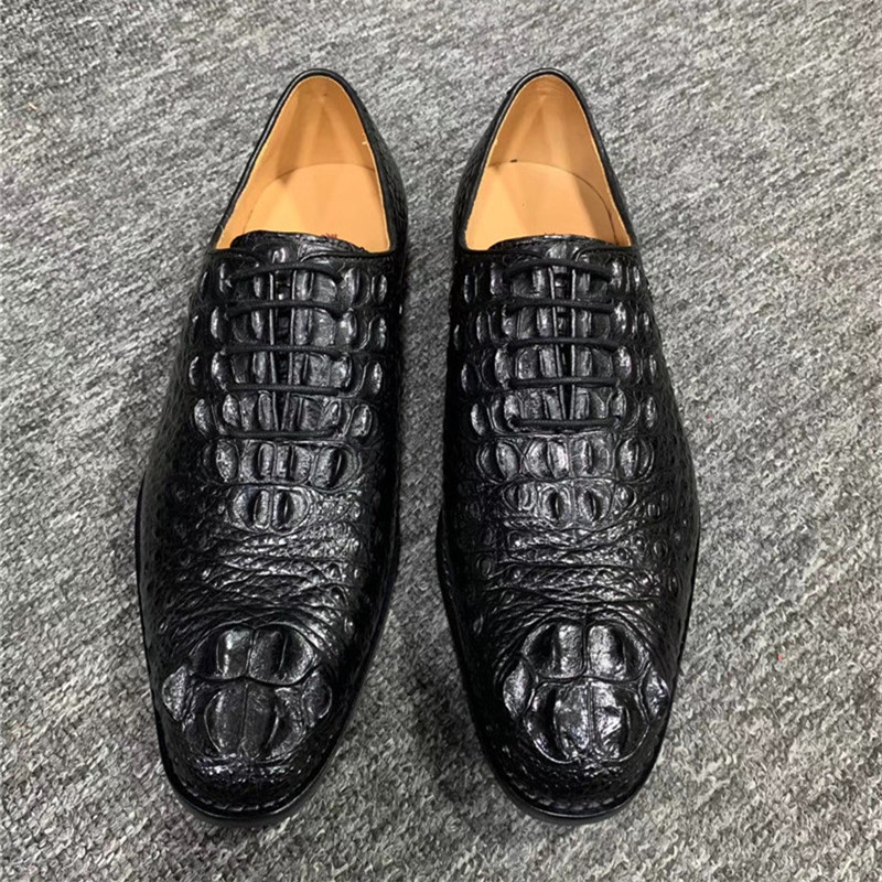Formal Style Authentic Crocodile Scales Skin Businessmen Fancy Dress Shoe Genuine Real Alligator Leather Male Chic Lace-up Shoes