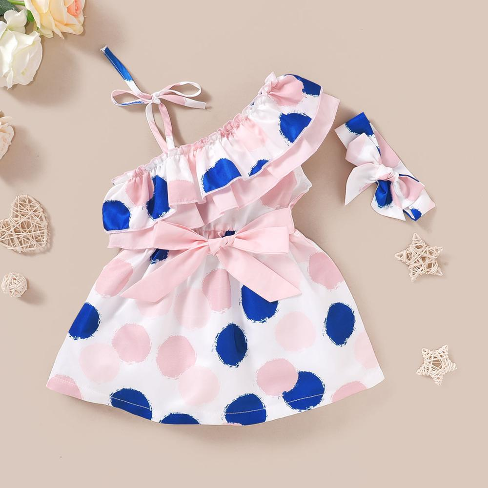 2020 Summer New Baby Girl Dress Cute Dot Sleeveless Newborn Bowknot Dress With Headband Set Princess Baby Girl Party Clothes