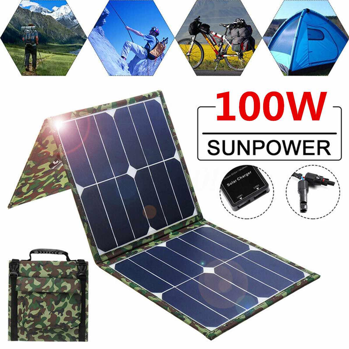 100W 5V 18VSolar Panel Dual USB Output Solar Cells Waterproof Folding Solar Panel for Outdoor Car Yacht Battery Boat Charger