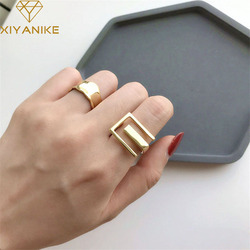 XIYANIKE 925 Sterling Silver  Geometry  INS Simple Ring Female Fashion Design Rectangular Hollow Flat Open Ring Jewelry