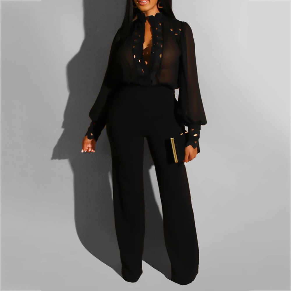 סתיו חורף ארוך שרוול לבן סרבל אלגנטי ליידי הולו מתוך מסיבה אפריקאית ארוך סרבל רחב רגל משרד ללבוש Playsuit 2019