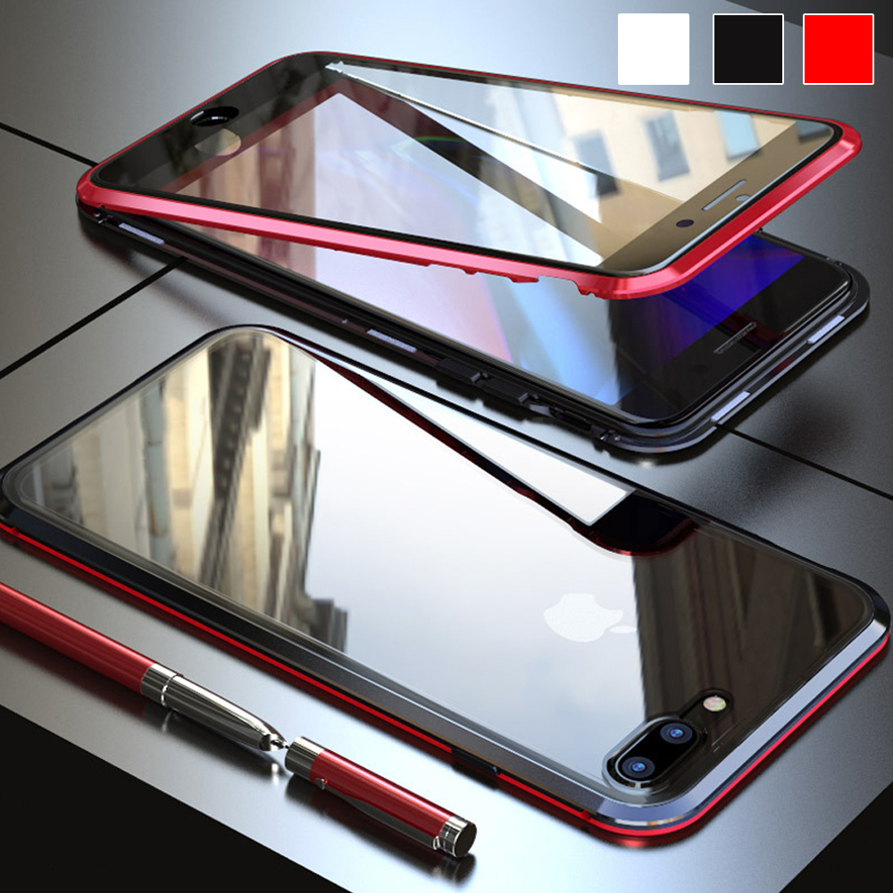 Anti-drop transparent <font><b>Case</b></font> For <font><b>iPhone</b></font> 6 6s <font><b>7</b></font> 8 Plus Magnetic Metal Frame Shell On For iPhones aphone i8 8plus Protective <font><b>Cases</b></font> image