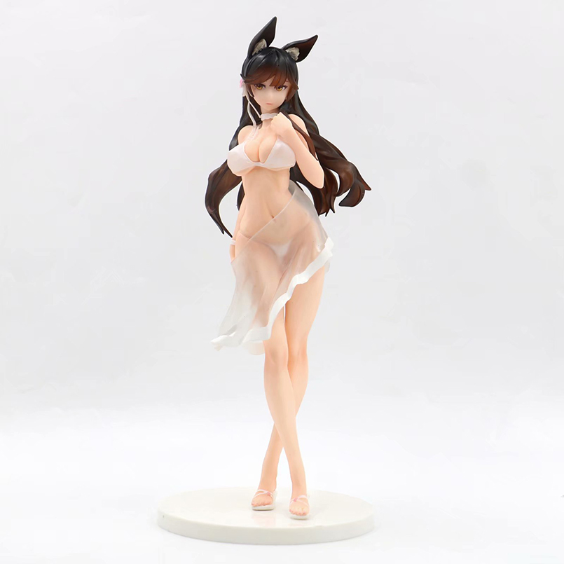 Anime Game Sexy Girl Azur Lane PVC Action Figure Toys Anime White Dress Cat Ear Azur Lane Atago Collectible Model Toy Adult Gift