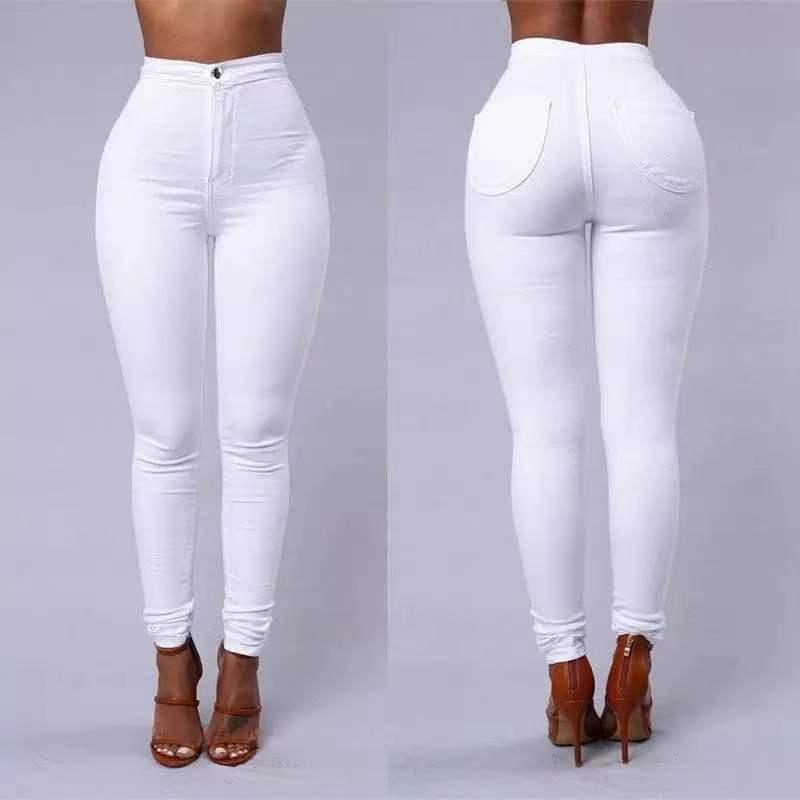 S-4XL High Waist Jean Women's Summer Autumn Stretch Straight Black Jeans Vintage Pants  Mom Slim Pencil Jeans High Quality 4
