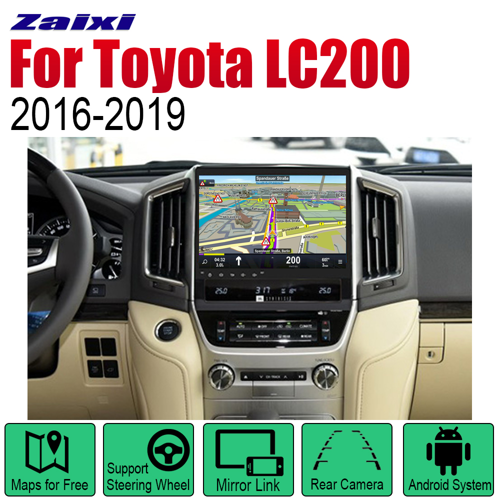 ZaiXi Auto Player GPS Navigation For Toyota Land Cruiser LC200 2016~2019 Car Android Multimedia System Screen Radio Stereo