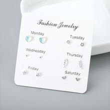 A Week Earrings Set Temperament Six Pairs of Large Special New Shiny Womens
