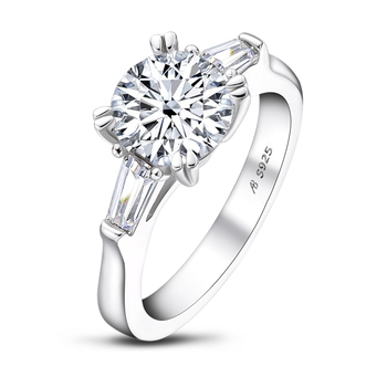 Classic 925 Solid Sterling Silver 2 Carat Round Cut 3 Stone Ring for Women Wedding Engagement Ring Band