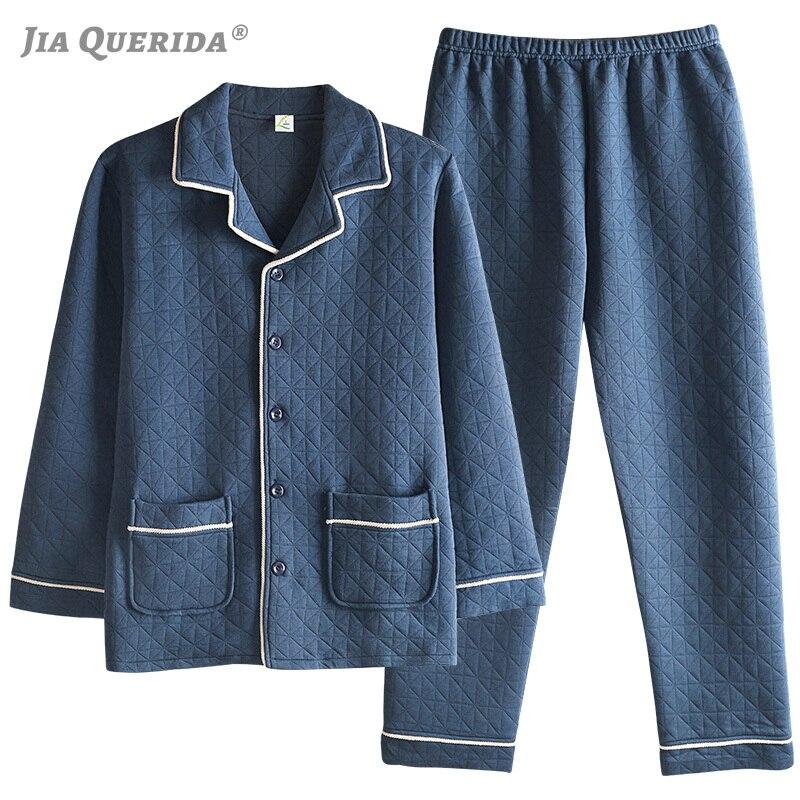 Elegant Men's Pajamas Set Long Sleeves Pants 3 Layers Pure Cotton&polyester Padded Turn-down Collar Solid Men's Blue Sleepwear