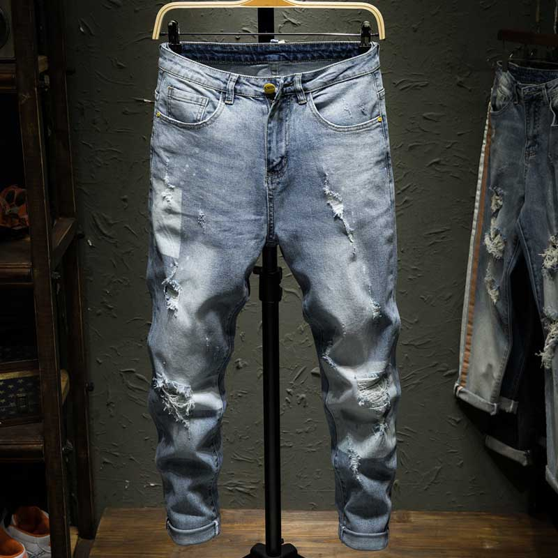 Korean Fashion Casual Slim Ripped Jeans Men Skinny Jeans Pants Streetwear Distressed Jeans Denim Trousers Male Clothes