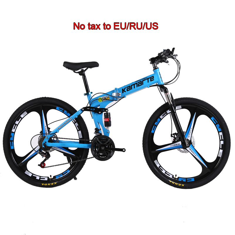 26inch Folding Mountain Bike Double Disc Brakes Bicycle 21 Speed Folding Bicycle 6 Knife Wheel And 3 Knife Wheel Mountain Bike