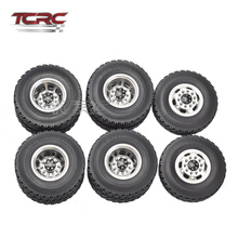 TCRC Tamiya RC 1/14 Aluminum Front & Rear Truck Wheel Rim Tire SEMI Tractor Trailer