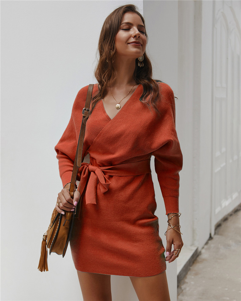 Long Sleeve Sashes Tied Knitted Wrap Sweater Dress 8