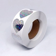 500PCS Laser Heart Label Stickers 1'' Round Paper Adhesive Scrapbooking Party Handmade Seals For Card Envelope Business Package