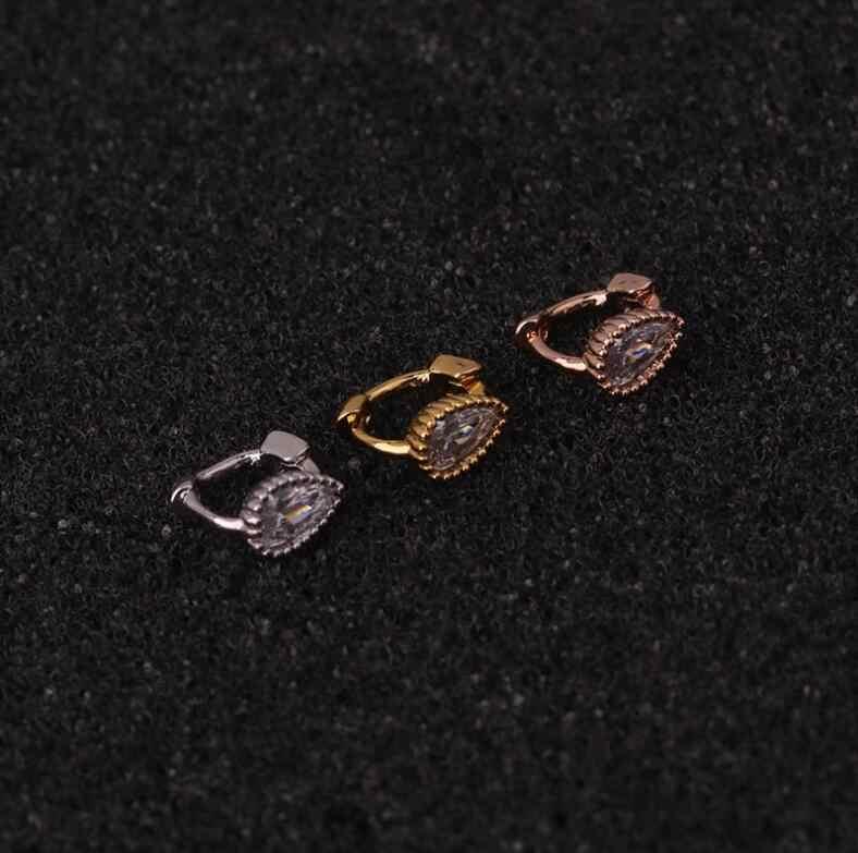 이 믹스 1Pc 새 실버 옐로우 로즈 골드 컬러 Cz 스몰 후프 Tragus 연골 귀걸이 루크 Daith Helix Piercing Jewelry