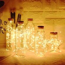 10 15 20 led garrafa de vinho luz cortiça led luz corda guirlanda linha de prata luz estranha artesanato de vidro decoração de festa de natal