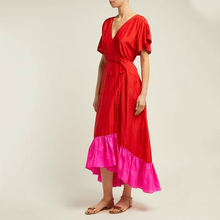 2019 New summerFashion Women Clothing Round Neck Flare Sleeves Rose Red High Waist Asymmetrical Bottoms Dress