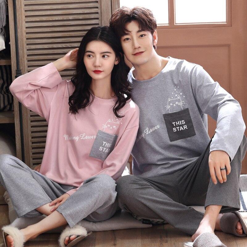 Wontive Long Sleeve Pijama For Male Plus Size Sleep Clothing Casual Nightie Sleepwear Men Pyjamas Suit Autumn Couple Pajamas