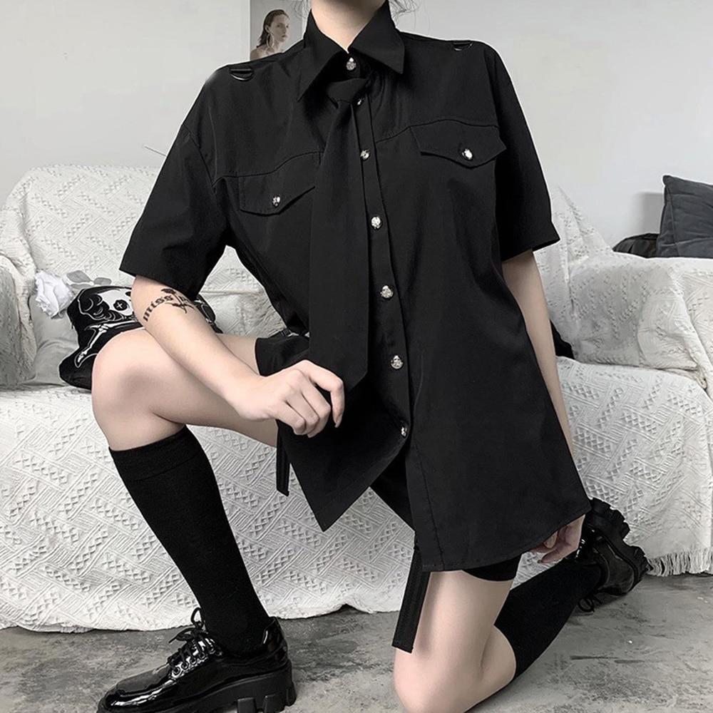 Rosetic School Gothic Shirt Women Japaneses Style Chic Tie Black Shirts 2020 Streetwear Harajuku Girl Summer Tops Loose Pockets