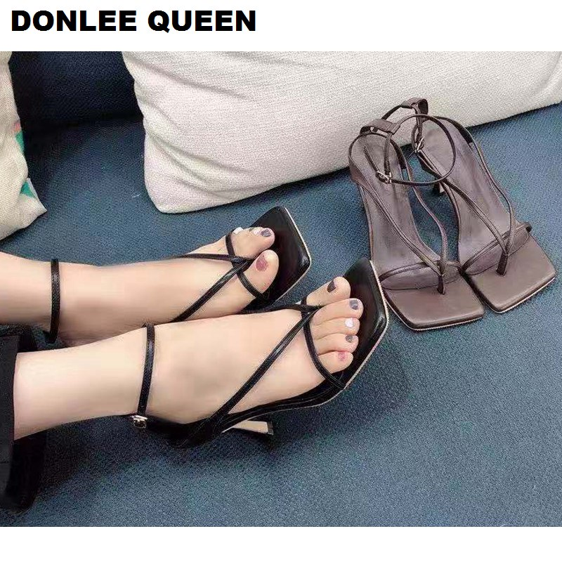 2020 New Fashion Square Toe Sandals Women High Heels Sexy Ladies Shoes Narrow Band Gladiator Sandals For Party Ankle Strap Shoes