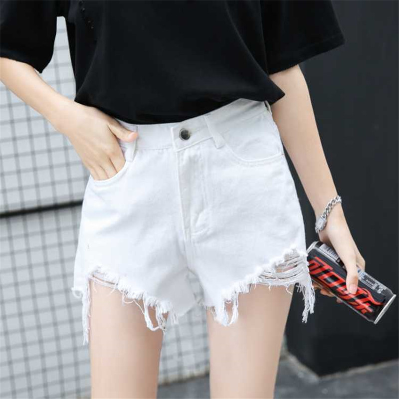 Denim shorts women's all-around jeans women's new summer 2020 hole Korean slim curly hot pants