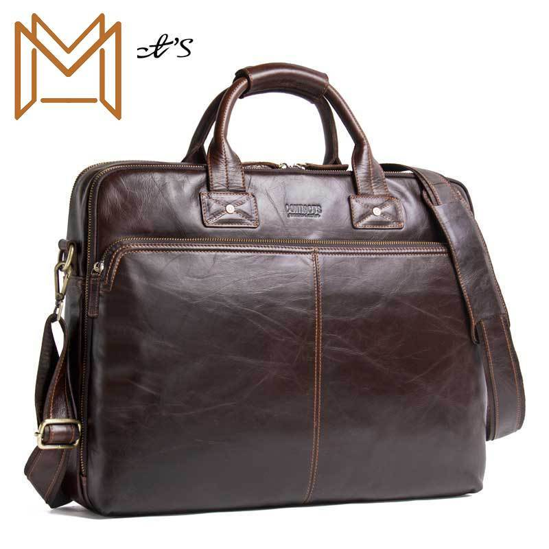Black Angel Genuine Leather Man Handbag Apply 15.6 Inch Portable Computer Business Affairs Briefcase