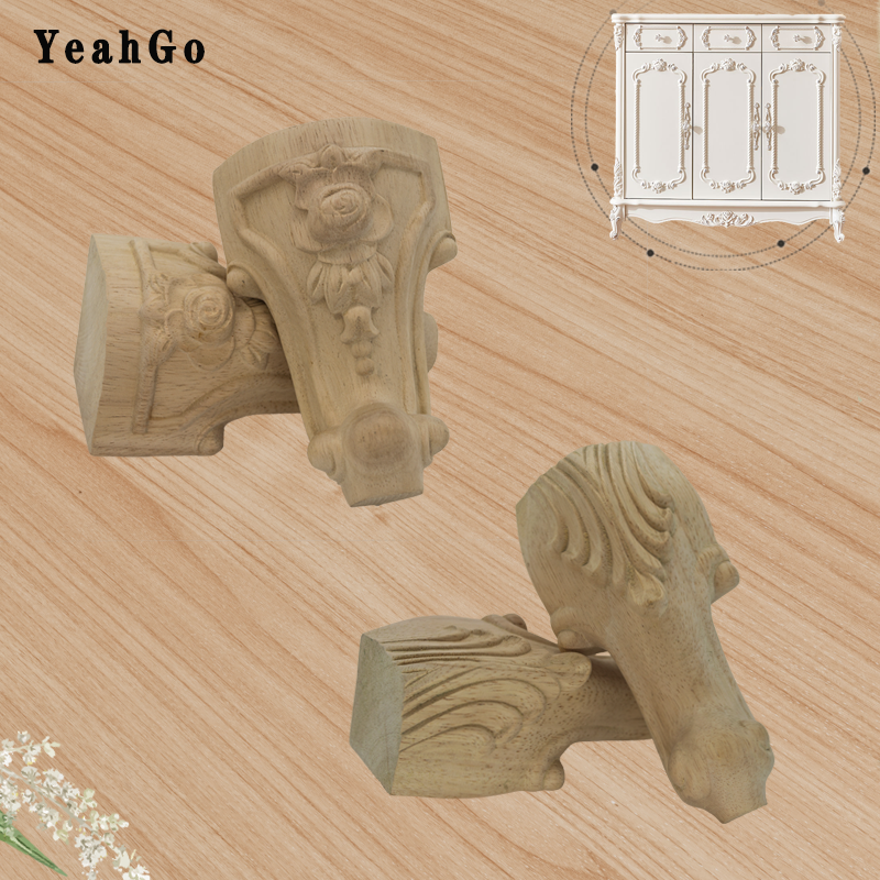 YeahGo Solid Wood Carved Legs Furniture Feet European-style Table Cabinet Carved Feet Four-packs Unpainted Rubber Wood Legs