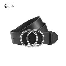 Frauen Schwarz Leder Gürtel Mode Doppel Schnalle Gürtel Strap Cinturon Mujer für Jeans