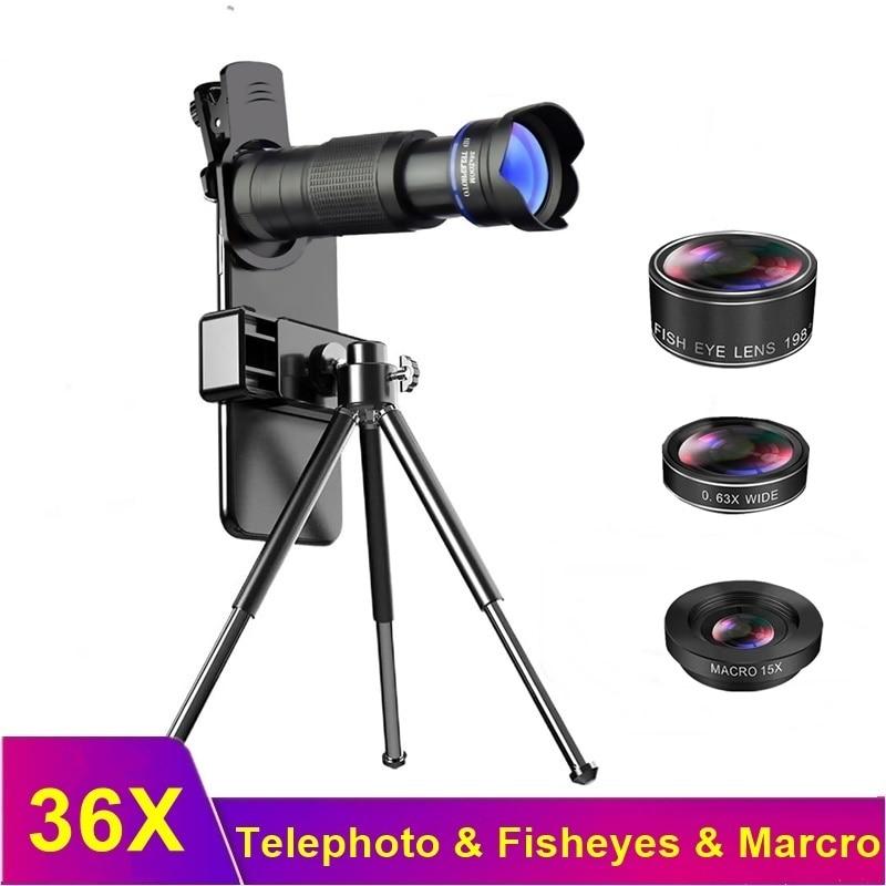 Tongdaytech 36X Phone Camera Lens 4 IN 1 Telephoto Telescope Zoom Macro Fish Eyes Lenses For Phone Lens Iphone Samsung Xiaomi