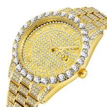 Роскошные 18 К золотые полностью бриллиантовые часы для мужчин кварцевые Стразы хип-хоп Bling Ice Out мужские часы для мужчин наручные часы из нержавеющей стали