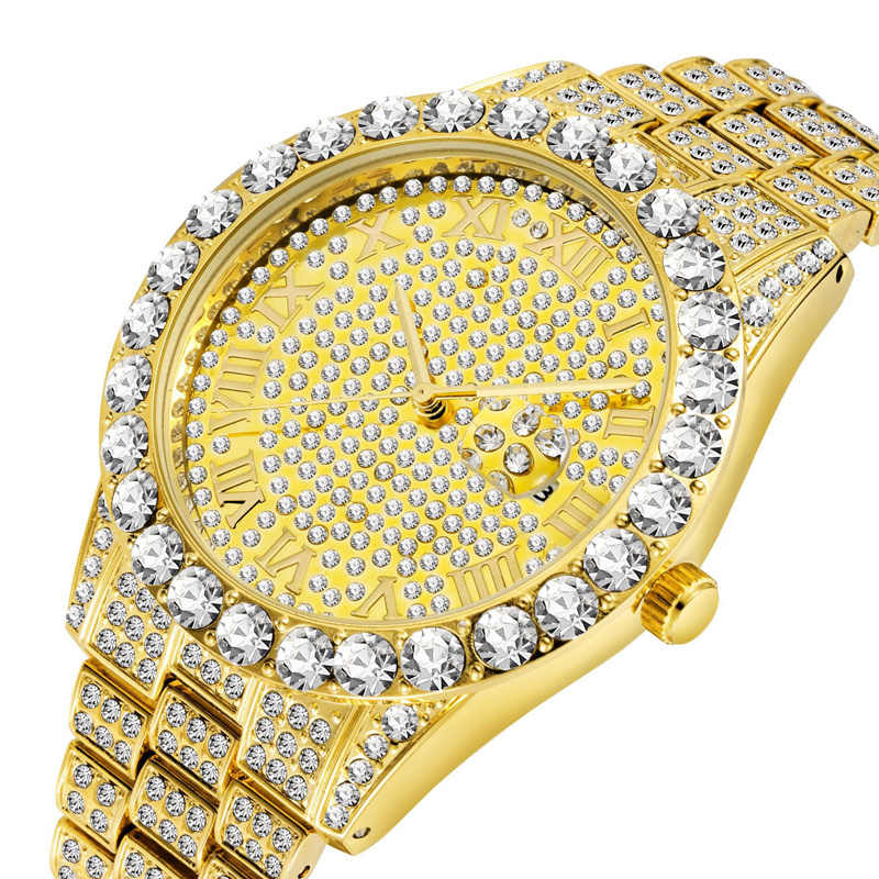 Luxe 18K Gold Volledige Diamond Horloge Mannen Quartz Strass Hip Hop Bling Ice Out Man Horloges voor Mannen Iced -out Steel Horloge