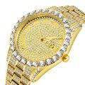 Роскошные 18 К золотые полностью бриллиантовые часы для мужчин кварцевые Стразы хип-хоп Bling Ice Out мужские часы для мужчин наручные часы из нер...