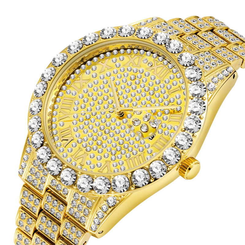 Luxury 18K Gold Full Diamond Watch Men Quartz Rhinestone Hip Hop Bling Ice Out Male Watches For Men Iced-out Steel Wristwatch