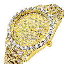 Luxury 18K Gold Full Diamond Watch Men Quartz Rhinestone Hip Hop Bling Ice Out Male Watches for Men Iced out Steel Wristwatch