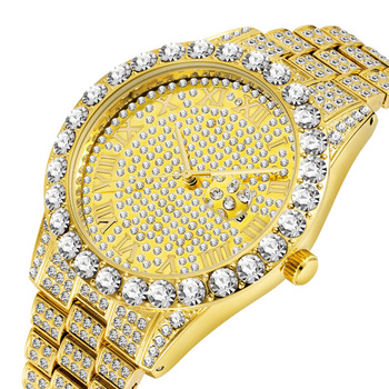 Luxury 18K Gold Full Diamond Watch Men Quartz Rhinestone Hip Hop Bling Ice Out Male Watches for Iced-out Steel Wristwatch