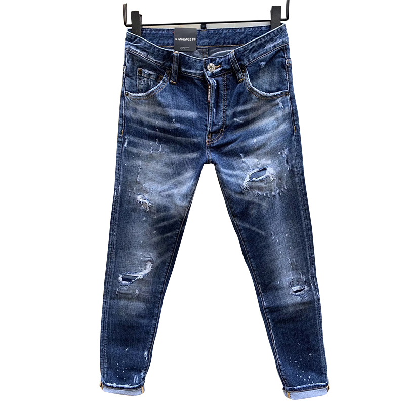 Starbags Dsq New Style Four Season Slim Blue Elastic Straight Leg Pants Jeans Washed  Worn Out With Holes Paint Dot Men's Pant