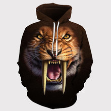 2020 New 3D Tiger hoodies animals face Saber-toothed tiger men's women's hoodie Elastic and breathable sportswear sweartshirt(China)