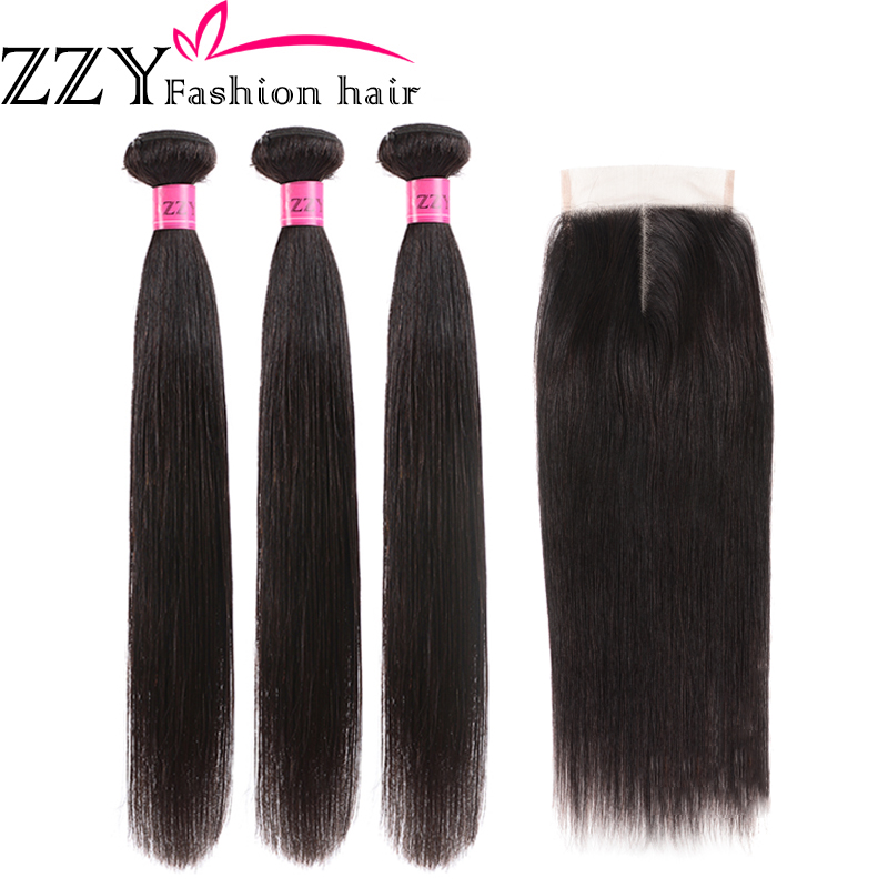 ZZY Fashion Hair Straight Hair Bundles With Closure  Peruvian Hair 3pcs Non Remy Human Hair Bundles With Closure