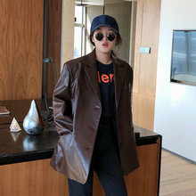 LANMREM 2020 Solid Color Pu Leather Loose Lapel Single breasted vintage Temperament Jacket autumn New Slim coat women 19B a563