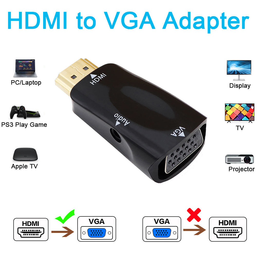 Macho a hembra adaptador de HDMI a VGA HD 1080P HD convertidor de Cable de Audio para PC portátil caja de TV pantalla de ordenador para proyector