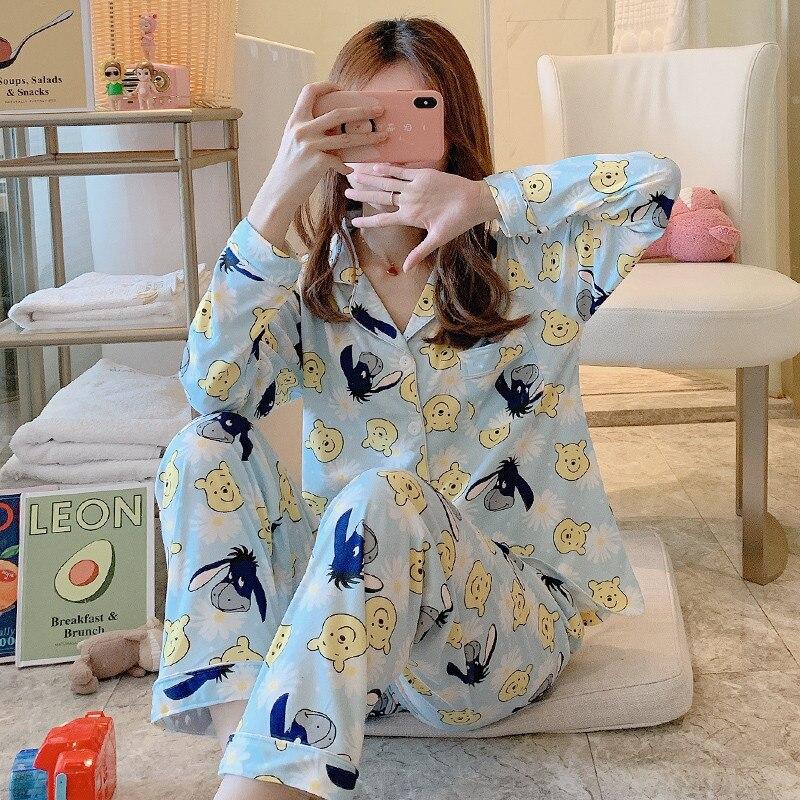 Image 2 - 2020 Women Pajamas Sets with Pants Long Sleeve Turn down Collar Pyjama Print Cute Cartoon Button Top+Pants Pijama Soft HomewearPajama Sets   -