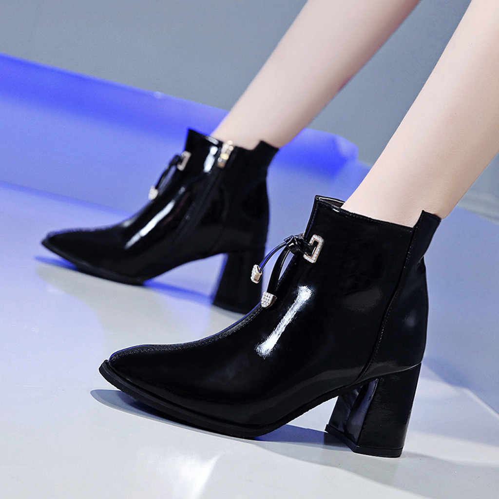 Women Ankle Boots Sexy Sqaure Toe Black Boots Square Heels Casual Single Shoes Ladies Leather Zipper Booties Zapatos De Mujer