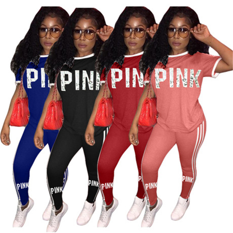 Yvlvol Pink Women Tracksuit Short Sleeve Women Set For Summer Spring Two Piece Set 2019  Pants Suits Set Outfits