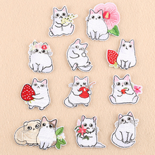 1 PCS Cartoon Fruit Cats Patches for Kids Clothes Iron on Appliques DIY Stripes Embroidery Stickers Sew on Cute Flowers Badge @B