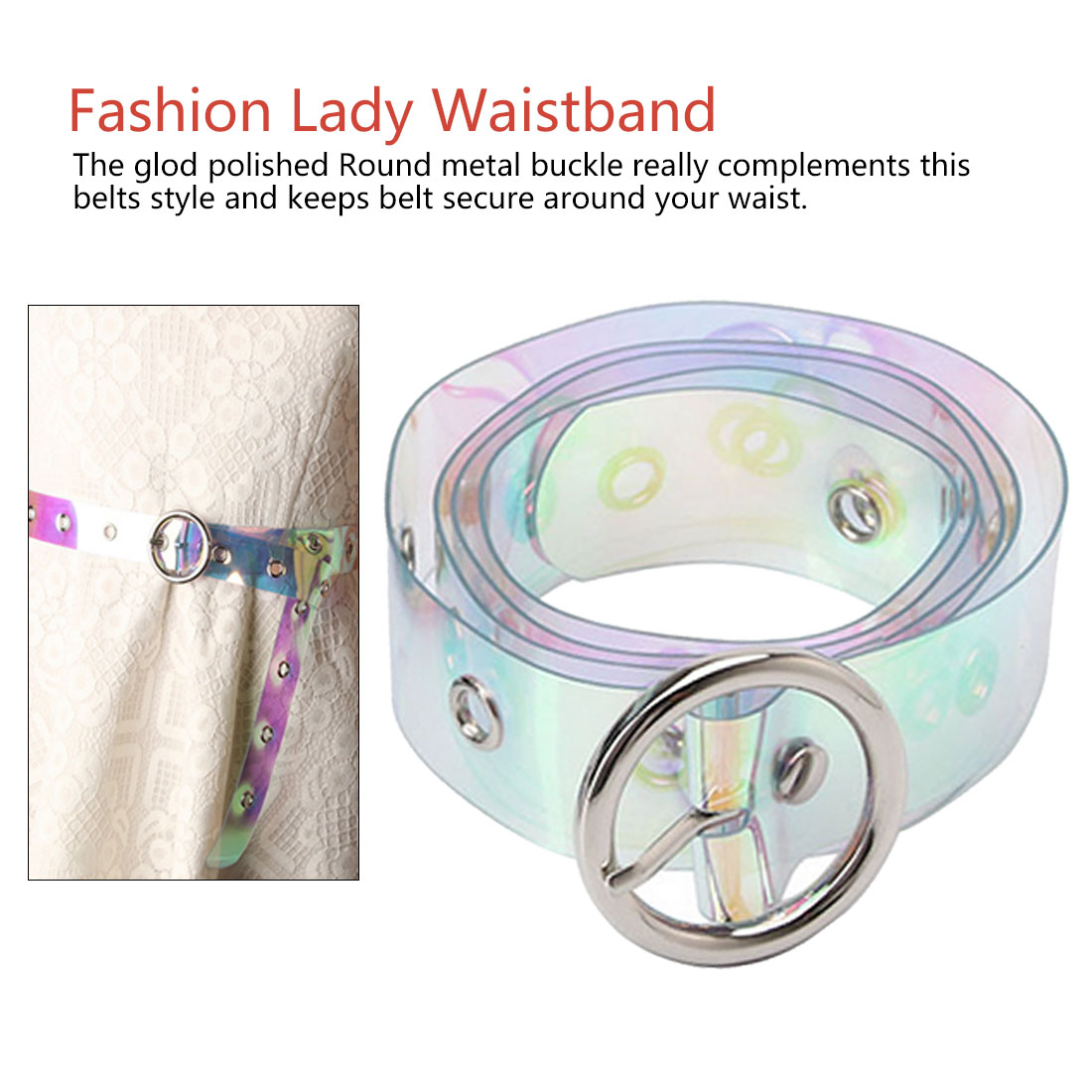 New 1Pc Transparent Laser Holographic Belt Punk Buckle Wide Waist Belt Circle Waistband Wedding Dress Accessories in Women 39 s Belts from Apparel Accessories