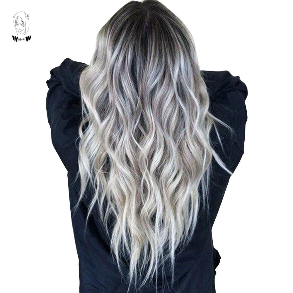 WHIMSICAL W Long Wavy Ombre Black Gray Mixed Blonde Wigs Natural Middle Part Heat Resistant Hair Synthetic Wig For Women