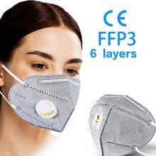 Masques faciaux de sécurité réutilisables, 6 couches, 5 à 100 pièces, KN95 FFP3, respirateur, anti-poussière, protection buccale, FFP2