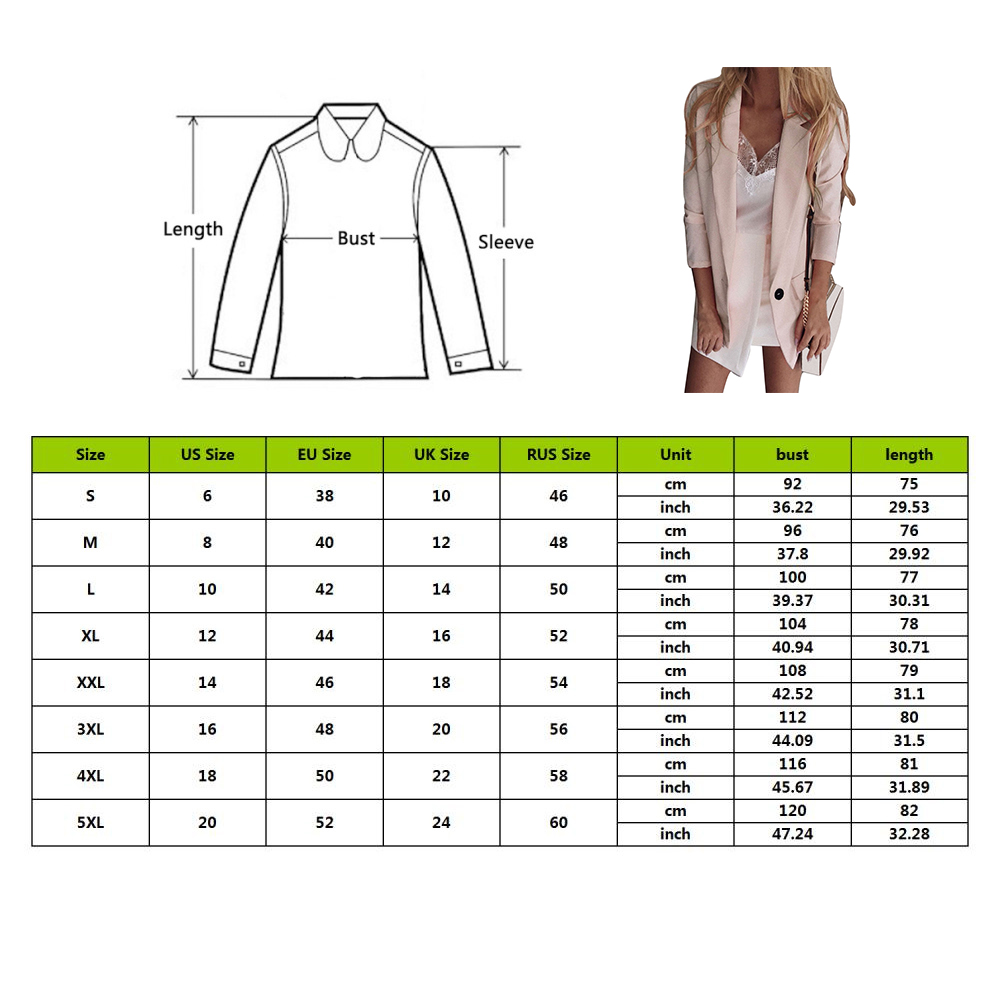 2019 Autumn Casual Blazer Women Basic Notched Collar Solid Blazer Pockets Top Office Ladies Single Button Suit Jackets Plus Size