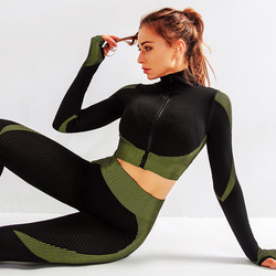 2 PCS/Set Woman Sports Suit Yoga Legging Blouse Sportswear Sexy Push Up Underwear Zipper Shirt Slimming Pants Sexy Butt Trouser