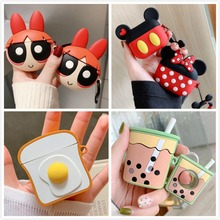 3D Earphone Case For Airpods Pro Case Silicone Cute Toast Stitch Cartoon Headphone/Earpods