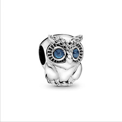 2019 Original 925 Sterling Silver Beads Charm Sparkling Owl Charm Fit Pandora Bracelets Bangle Women DIY Jewelry 2019